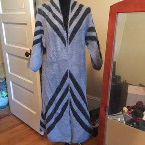 Long fleece duster cardigan